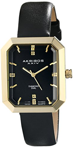 Akribos XXIV Women's AK749BK Swiss Quartz Movement Watch with Black Sunburst Effect Dial and Black Leather over Nubuck Leather Strap