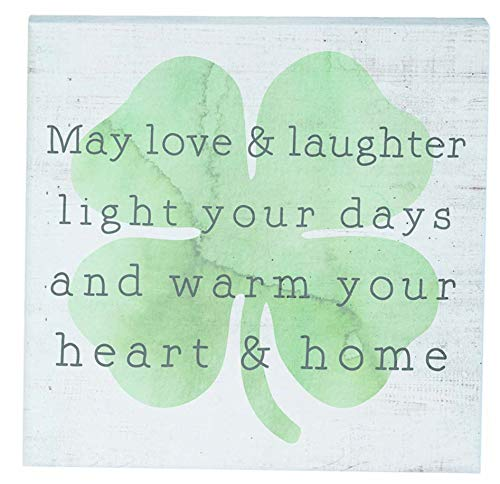 """Simply Said, INC Small Talk Sign 5.25"""" Wood Block Plaque - May Love & Laughter Light Your Days and Warm Your Heat & Home"""