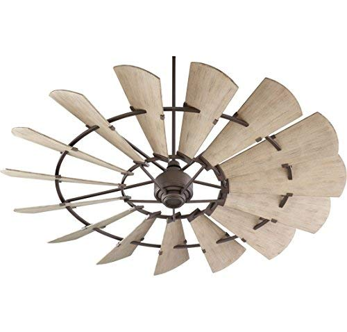 Weathered Bronze Fan - Quorum 197215-86 Windmill Ceiling Fan in Oiled Bronze with UL Damp Weathered Oak Aluminum Blades