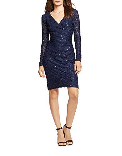 Lauren Ralph Lauren Women's Sequined Lace Surplice Sheath Dress, Navy , Size 12P (Surplice Sequined)
