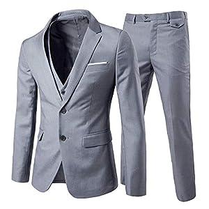 Best Epic Trends 41WQhZQwYKL._SS300_ Cloudstyle Men's 3-Piece 2 Buttons Slim Fit Solid Color Jacket Smart Wedding Formal Suit