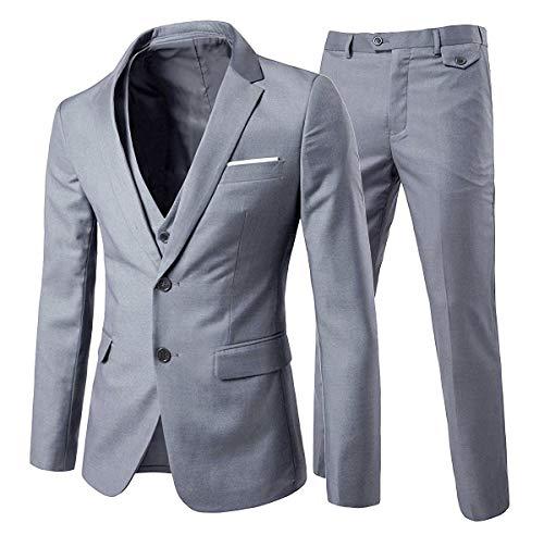 Cloudstyle Men's 3-Piece 2 Buttons Slim Fit Solid Color Jacket Smart Wedding Formal Suit Grey