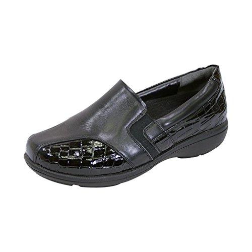 24 Ore Comodità Fic Agata Donne Unampia Larghezza Vestito Loafer Regolabile Per Tutte Le Occasioni (tabella Di Misura) Nero