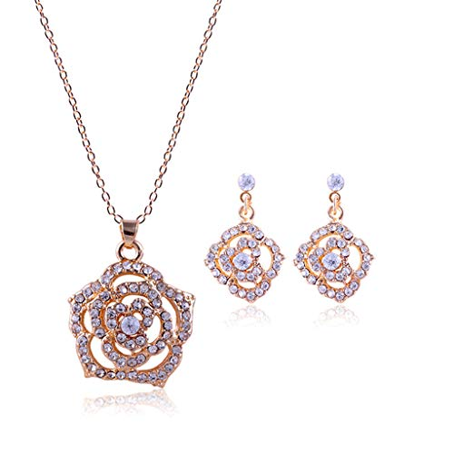 Tanwpn New Ladies Fashion Vintage Rose Rhinestone Shape Pendant Earrings Chain Necklace Jewelry Gift (Gold)