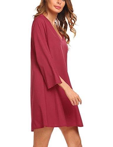 Neck Tops V Tunic Blouse Split Long with Long Loose Red Pinsparkle Sleeve Casual Women Dress HZqEzxwf