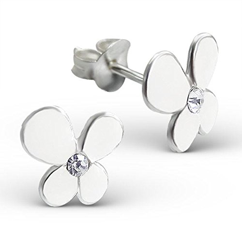 Silvadore - 925 Childrens argent solides cloutent des boucles d'oreille - papillon de la fleur 4 pétales Crystal White - serrement du papillon - le cadeau libre a empaqueté