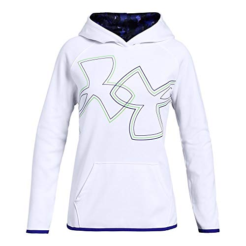 (Under Armour Girls Armour Fleece Dual Logo Hoodie, White (101), Youth Large)