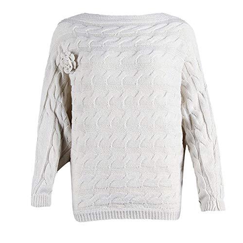 Longues Tricot Femme Pulls Fleur Sweatshirt Chic LEvifun Manches Femme HY4p88
