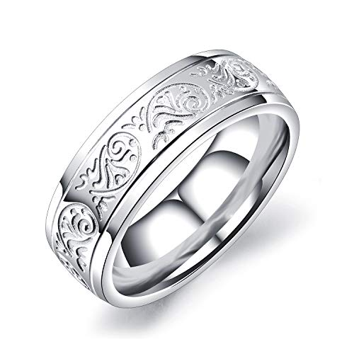 EZSONA Men's Women's 7MM Classic Silver Stainless Steel Ring with Engraved Florentine Design Ring Size 12