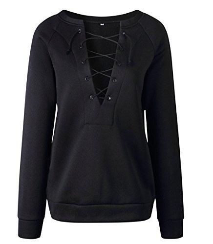 Profond Casual Pulls Hiver Automne Shirts Blouses Sweat Hauts Col et Manches Jumpers Longues Noir Fashion Shirt V Blouse T Femmes Bandage Tops Pullover q7a057