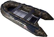ALEKO® BT380CM Inflatable Camouflage Boat 12.5 Feet Aluminum Floor 6 Person Motor Fishing Boat Raft Sport 3 Ke