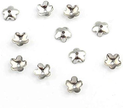 20 Endkappen Edelstahl Perlenkappen Blumen 6mm Zwischenteile Schmuck BEST M229