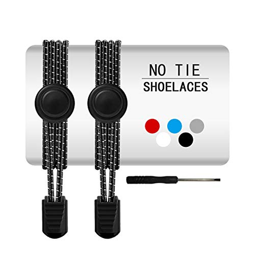 Elastic Shoe Laces for Adults and Kids - 42 inch No Tie Shoelaces for Sneakers, Boots or Tennis, Running Shoes (Black-1Pack)