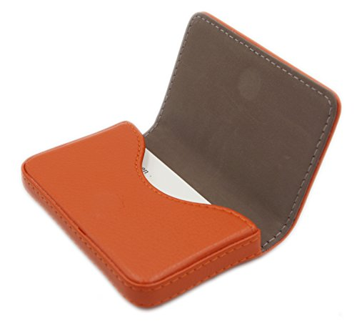 RFID Blocking Wallet - Minimalist Leather Business Credit Card Holder with Magnetic - Orange