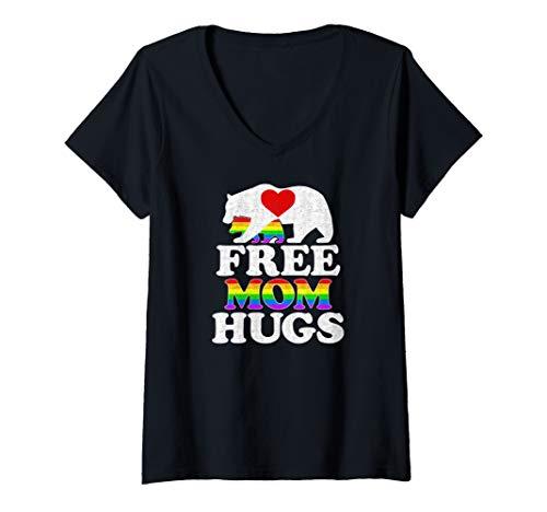 - Womens Gay LGBT Pride Mama Bear For Women Free Mom Hugs V-Neck T-Shirt