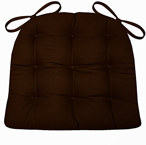 Dining Chair Pad with Ties - Brown Cotton Duck Solid Color - Extra-Large Size XL - Reversible, Latex Foam Fill (Large Chocolate Brown Cushions)