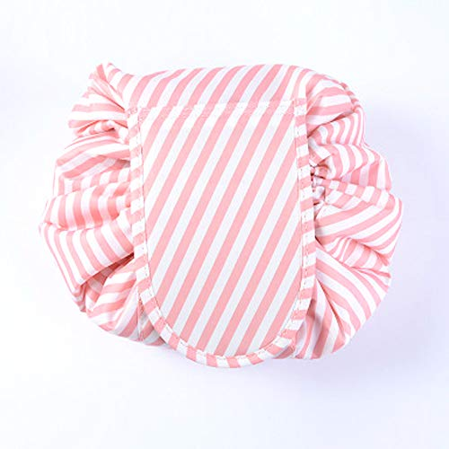 Drawstring Lazy Makeup Bag Waterproof Toiletry Bag Fashion Travel Organizer Large Cosmetic Pouch(Dark Grey Flower) (Pink Stripe)