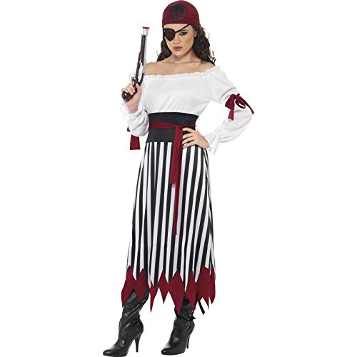 Smiffy's Women's Pirate Lady Costume, Dress with Arms tied, Belt and Headpiece, Pirate, Serious Fun, Size 10-12, 20803 (Pirate Costumes)