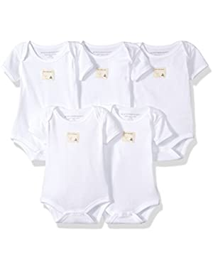 Set of 5 Bee Essentials Solid Short Sleeve Bodysuits, 100% Organic Cotton