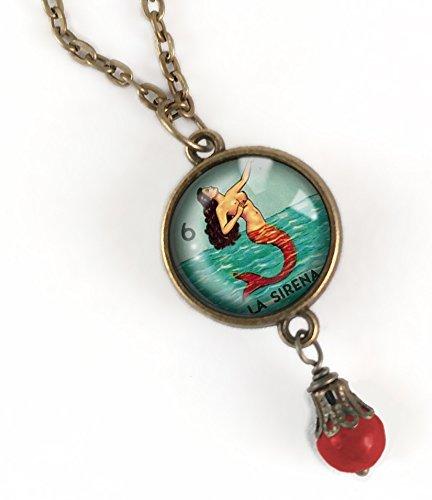 - Loteria Mermaid- La Sirena pendant necklace