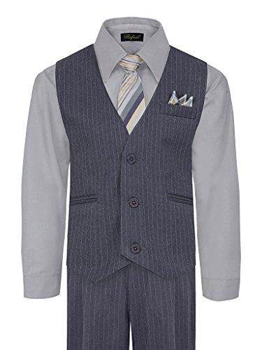 iGirlDress Big Boys' Special Occasion Pinstripe Vest Set Grey/Silver 12