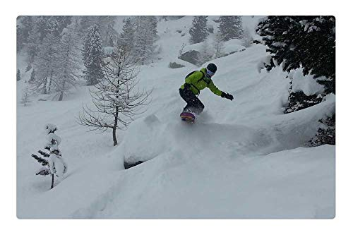 (Indoor Floor Rug/Mat (23.6 x 15.7 Inch) - Snowboard Freeride Freeriding Height Mountains )