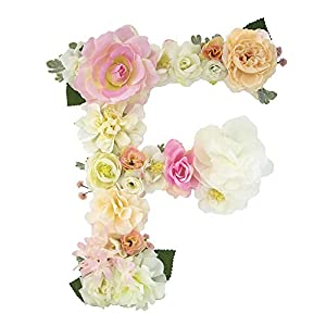 DARONGFENG RuralStyle Floral Letters, Handmade Wood Artificial Flower Letter Monogram for Wall Door Desk Top Decoration, Nursery/Baby Shower/Children Room/Wedding /Birthday Party Decor (F) 80