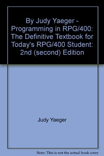 Programming in RPG/400 (2nd Edition) by Brand: 29th Street Press