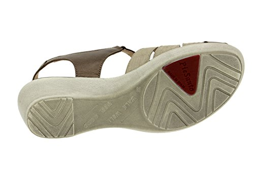 Calzado mujer confort de piel Piesanto 6556 sandalia cuña zapato cómodo ancho Taupe