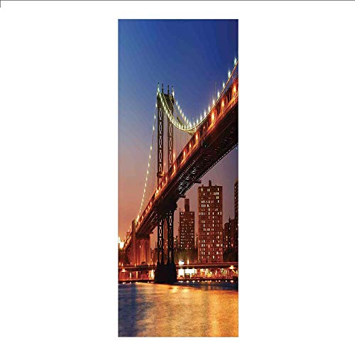 3D Decorative Film Privacy Window Film No Glue,New York,Manhattan Bridge with Night Lights Over Hudson River Brooklyn Popular Town Image,Blue Orange,for Home&Office
