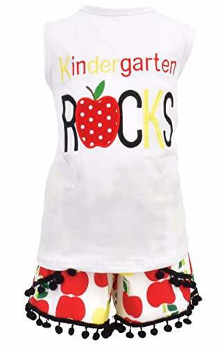 Unique Baby Girls Kindergarten Rocks Back to School Outfit (5/L) White