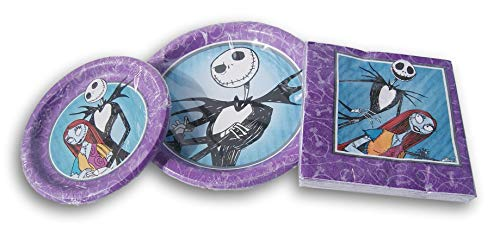 Spooky Town Nightmare Before Christmas Jack and Sally Party Supply Kit - (8) Large Plates, (8) Small Plates, and (16) Napkins]()