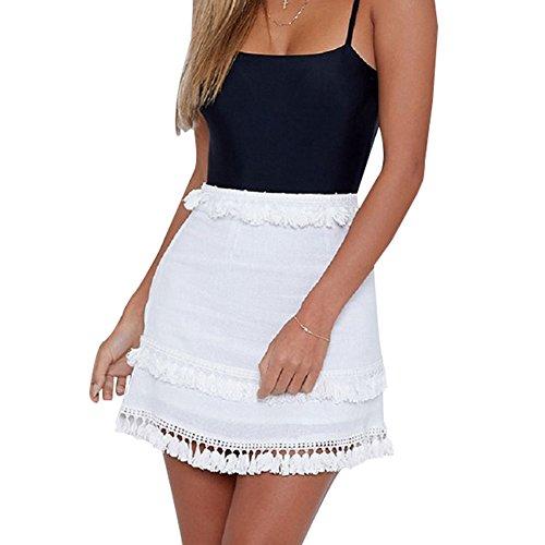Glamaker Women's Casual High Waist Pencil Summer Vacation Boho Tassel Mini Skirts White