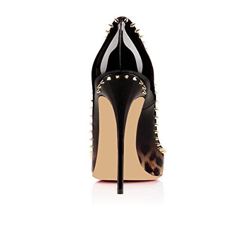 Heels High High Women Sexy Dress Leopard Pumps Heels Party Gold Stilettos elashe Toe Rivet Pointed 12cm qEBRggOwc