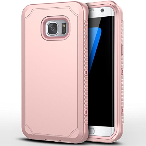 Galaxy S7 Edge Case, CinoCase Triple Layer Heavy Duty Armor Protective Case Inner High Impact Rugged Solid Hard PC Outer Soft Silicon Rubber 3 in 1 Tough Cover for Samsung Galaxy S7 Edge - Rose Gold