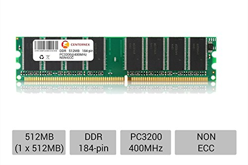 512MB STICK DIMM DDR NON-ECC PC3200 400MHz 400 MHz DDR-1 DDR 1 512M Ram Memory by CENTERNEX (Ddr Memory 512mb Pc)