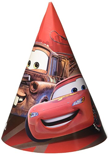 Amscan Disney Cars Formula Racer Birthday Party Paper Cone Hats Favour, Pack Of 6, Bright Red, 6