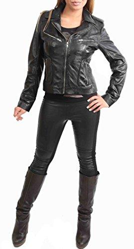 Mujer Cuero de Cordero Real Motorista Estilo Cabido Chaqueta Casual Kim Negro