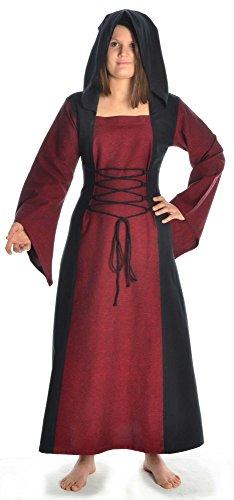 braun Gugel Damen schwarz Mittelalter Dunkelrot rot Schnüren mit zum grün XL S blau Kleid weiß HEMAD RYdqwPR