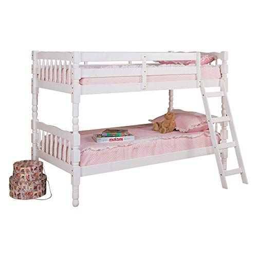 Major-Q White Finish Wood Frame Twin Over Twin Bunk Bed with Easy Access Guard Rail (7002298)