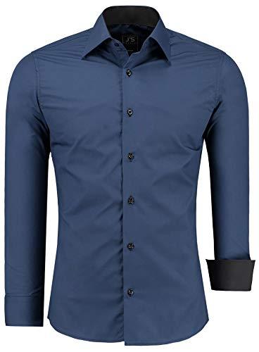 J'S FASHION Herren-Hemd - Vergleichssieger 2019* - Slim-Fit - Langarm-Hemd - Bügelleicht - EU Größen: S bis 6XL
