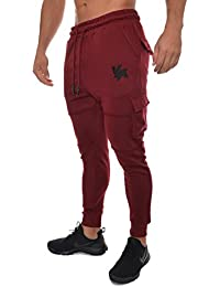Men's Gym Joggers Cargo Style Pants W/Multiple Pockets Tapered Fit 203