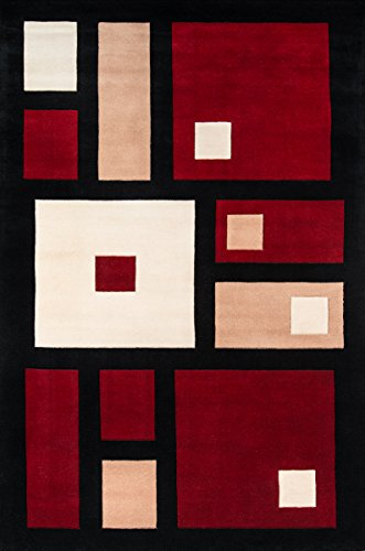 Collection Wave Area Rugs Contemporary - Momeni Rugs NEWWANW-50BLK2030 New Wave Collection, 100% Wool Hand Carved & Tufted Contemporary Area Rug, 2' x 3', Black