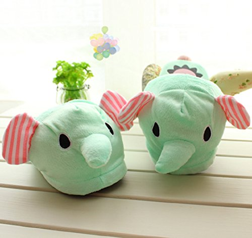 Long Nose Elephant Plush Slipper Anti-slip Warm Home Shoes Funny Big Ear Candy Green Elephant Footwear