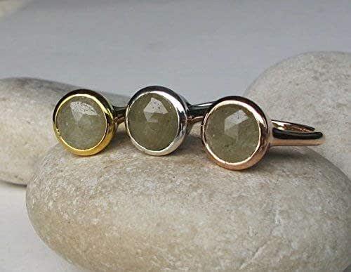 Amazon.com: Green Sapphire Simple Engagement Ring- Rose