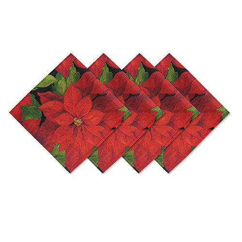 Christmas Poinsettia Celebration Fabric Napkin Set, 4 Piece Napkin Set Christmas Poinsettias