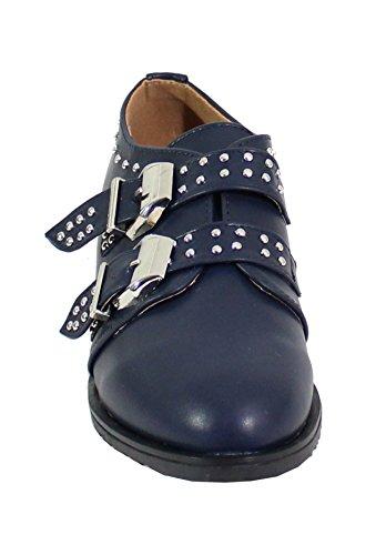 By Shoes Chaussure Effet Cuir Style Rock - Femme Bleu F8yGDw