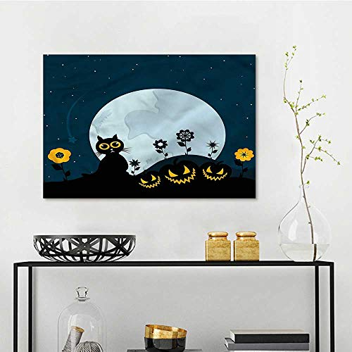 one1love Halloween Anti-Fading Oil Painting Kitty Under Moon Oil Canvas Painting Wall Art W23 xL15