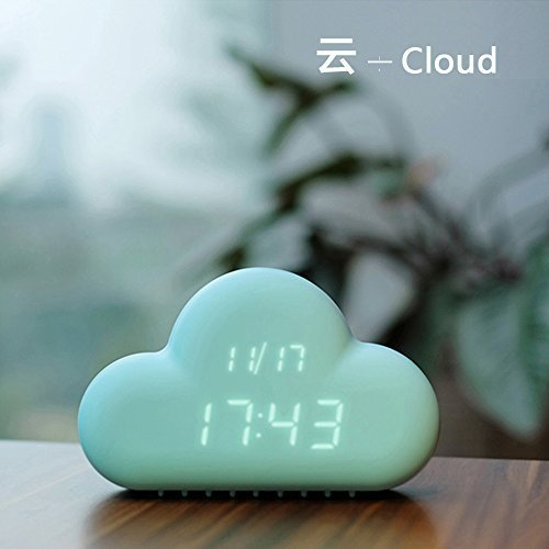 HILTOW Cute Cloud Alarm Clock,Creative Voice/Sound Control Led Clock for Students Kids Boys Girls with Time and Temperature,Rechargeable Always Display/Energy Saving Mode,Decoration Wall Clock,Blue by Hiltow (Image #3)