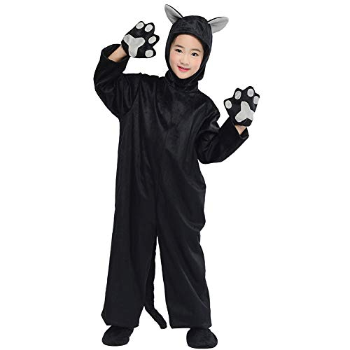 Animals Costumes Kids Fox Gray Mouse Black Cat Cosplay Halloween Fancy Dress Baby Jumpsuit with Tail and Ears Outfit (Black cat, M/5-7 Years(Height -